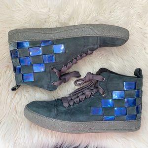 ✨LANVIN men's woven leather high top shoes